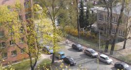 Nierówna walka o miejsce parkingowe.