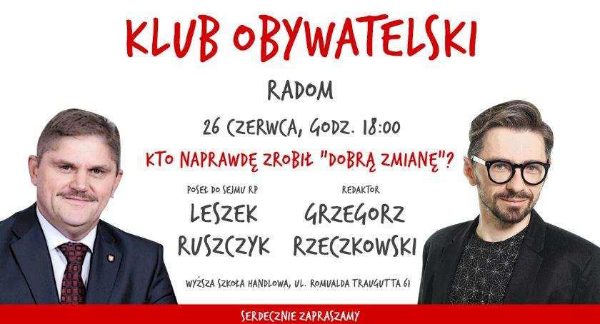 Inne, Spotkanie Klubu Obywatelskiego Grzegorza Rzeczkowskiego posłem Leszkiem Ruszczykiem - zdjęcie, fotografia