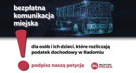 Rozpoczęła się zbiórka podpisów pod petycją związaną z bezpłatną komunikacją miejską w Radomiu