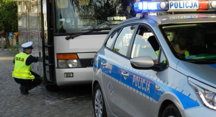 Kronika policyjna, Kontrole autokarów - zdjęcie, fotografia