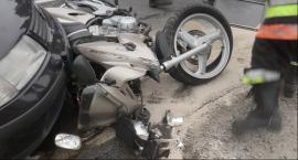 Wypadek motoru w Skolimowie.