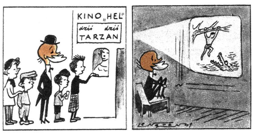 wystawy, Muzeów twórczością Zbigniewa Lengrena plenerowy pokaz filmowy Muzeum Karykatury - zdjęcie, fotografia