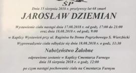 Jarosław Dziemian spocznie na Cmentarzu Farnym. Pogrzeb w sobotę