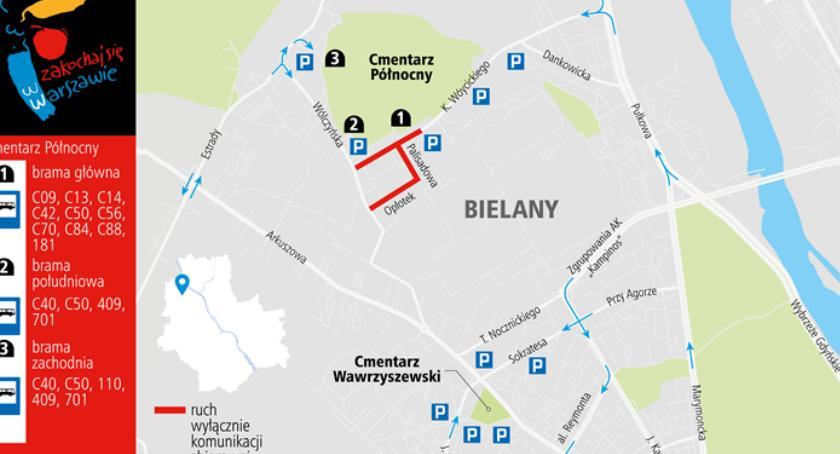 Ulice i place, Wszystkich Świętych zamknięte ulice cmentarzach Bielanach zmiany weekend - zdjęcie, fotografia