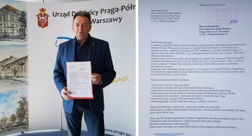 Urząd dzielnicy, Radny Wachowicz rzuca rękawicę Przewodniczącemu Kędzierskiemu debaty Pradze - zdjęcie, fotografia