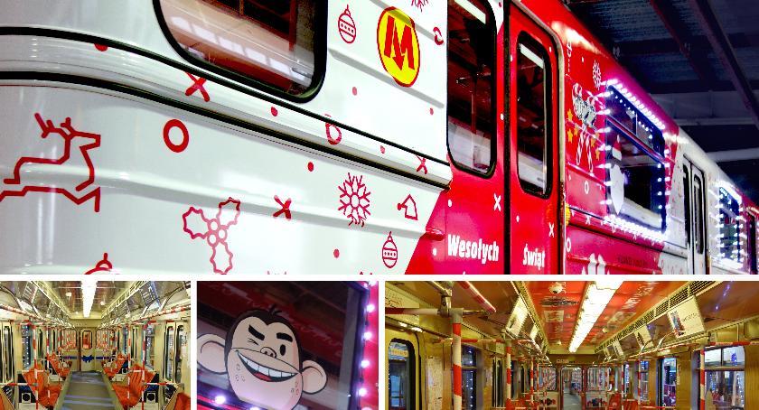 Komunikacja, Świąteczny Pociąg składzie warszawskiego metra! - zdjęcie, fotografia