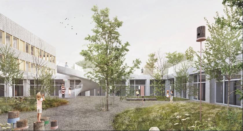 Inwestycje, Konkurs architektoniczny projekt budynku szkoły przedszkola Zaruby rozstrzygnięty - zdjęcie, fotografia