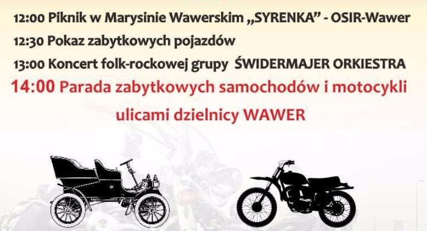 Imprezy, Zabytkowe motocykle samochody Wawrze - zdjęcie, fotografia