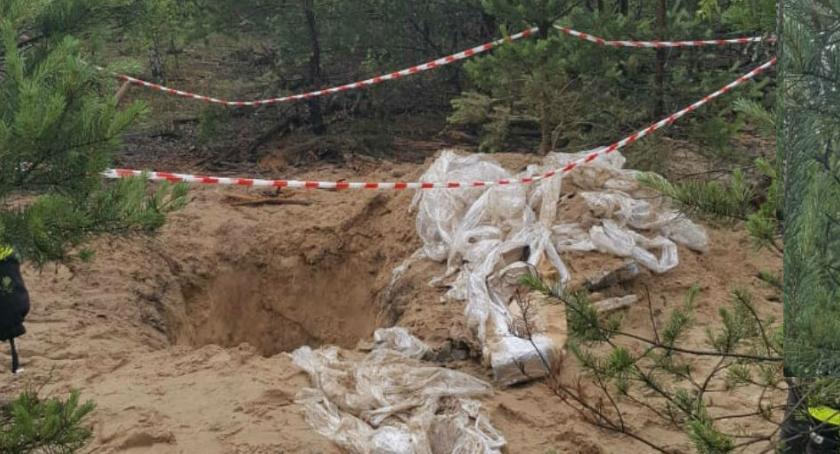 Bezpieczeństwo, Sprzęt laboratoryjny zakopany lesie [ZDJĘCIA straży] - zdjęcie, fotografia