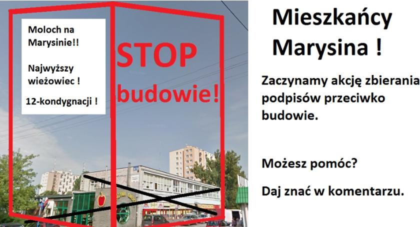 Inwestycje, chcemy piętrowego bloku! Mieszkańcy Marysina protestują - zdjęcie, fotografia