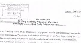 Rada Dzielnicy o Szpitalu Wolskim.