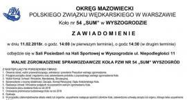 """Walne Zgromadzenie Sprawozdawcze Koła PZW Nr 54 """"SUM"""" Wyszogród"""