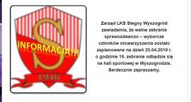 Zarząd LKS Stegny Wyszogród zawiadamia,