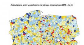 Mapa zadłużenia. W ubiegłym roku 70 gmin nie posiadało żadnego długu. Publikujemy mapę zadłużenia samorządów