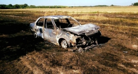 Pożar rżyska i samochodu w miejscowości Dąbrowa Las
