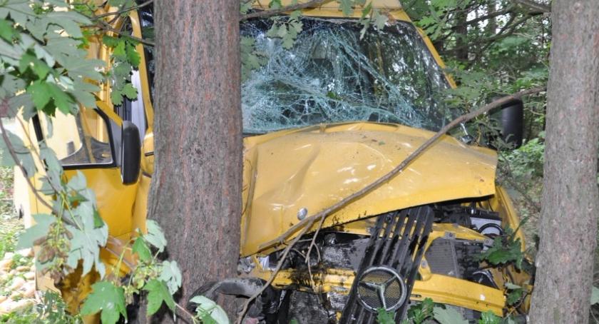 Na sygnale, Chciał ominąć uderzył drzewo - zdjęcie, fotografia