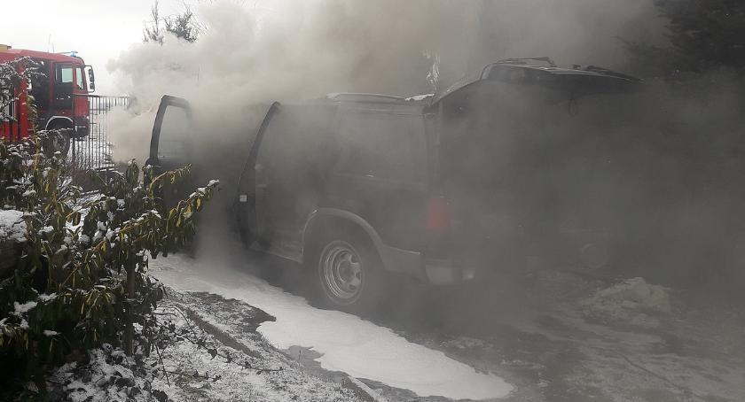 Pożary i wypadki, Silnik zapalił chwili rozruchu - zdjęcie, fotografia