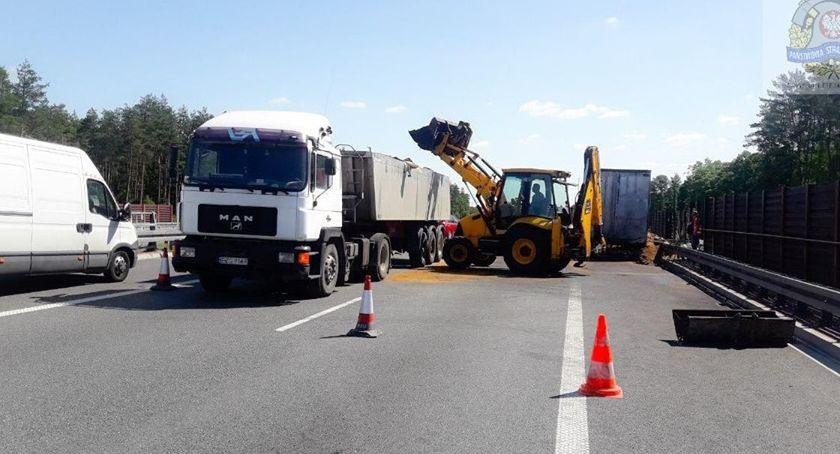 Komunikacja - drogi , Uwaga utrudnienia ruchu! zablokowana - zdjęcie, fotografia