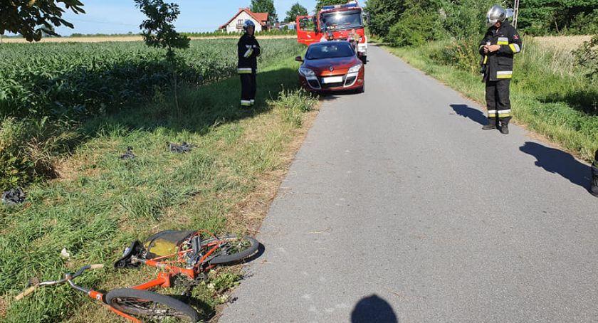 Pożary i wypadki, Potrącenie rowerzysty Szydłowieckiej - zdjęcie, fotografia