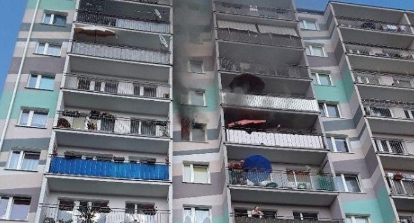 Pożary i wypadki, Pożar mieszkania Sucharskiego - zdjęcie, fotografia