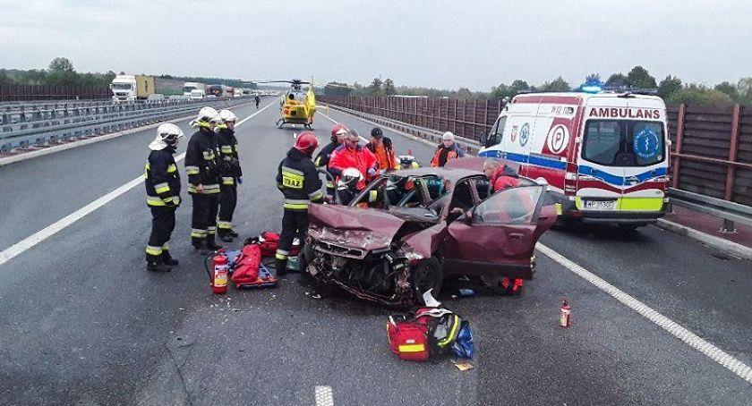 Pożary i wypadki, Wypadek autostrady Lądował śmigłowiec - zdjęcie, fotografia