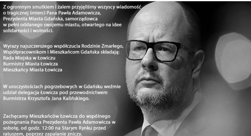 Urząd Miejski, Łowiczanie oddadzą hołd zmarłemu prezydentowi Gdańska - zdjęcie, fotografia