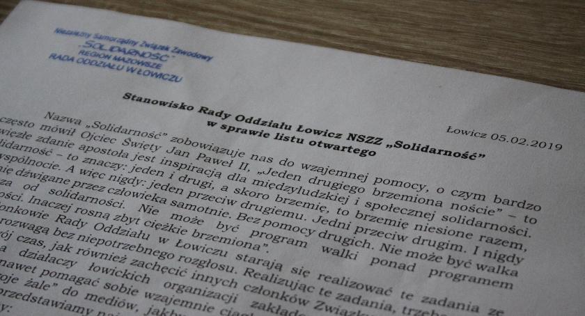 """Wasze sprawy, Stanowisko Oddziału Łowicz """"Solidarność"""" sprawie listu otwartego - zdjęcie, fotografia"""
