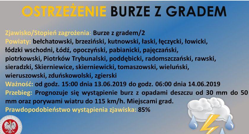 Urząd Miejski, Łowicz okolice ostrzeżenie burzach gradem - zdjęcie, fotografia