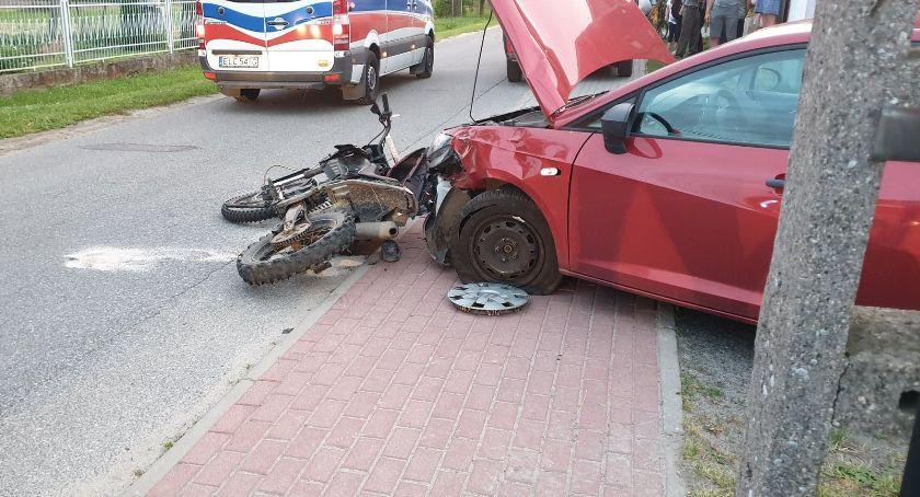 Wypadki i kolizje, Wypadek Popowie Łowiczem Poszkodowany motocyklista - zdjęcie, fotografia