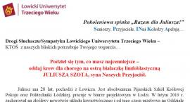 """Akcja """"Razem dla Juliusza!"""". Potrzebna krew dla chorego na białaczkę 28-latka z Łowicza"""