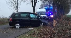 Opel rozbił się na drzewie w Sobocie. 22-letni kierowca trafił do szpitala