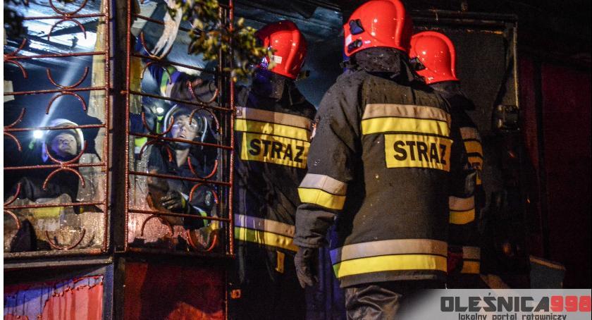 Na sygnale, Nocny pożar Ostrowinie - zdjęcie, fotografia