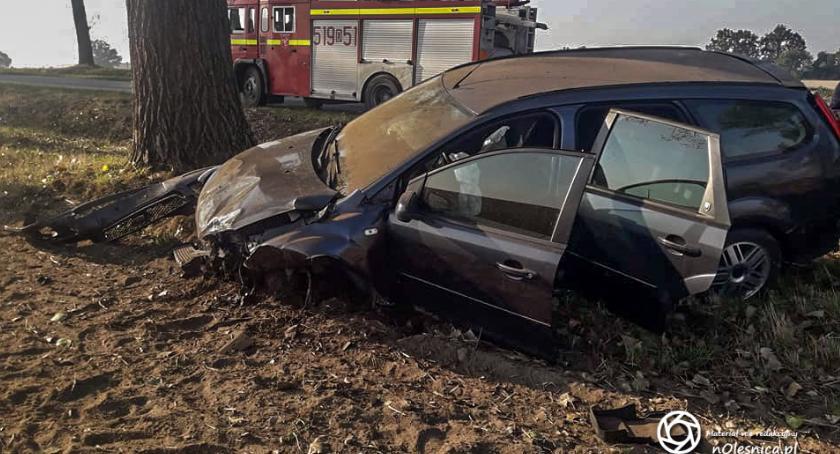 Na sygnale, Wypadek koło Bierutowa - zdjęcie, fotografia
