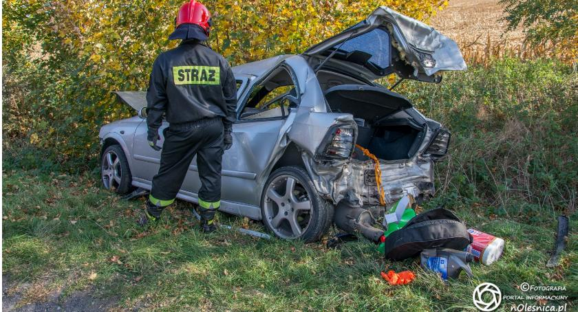 Na sygnale, Wypadek koło Solnik Wielkich - zdjęcie, fotografia