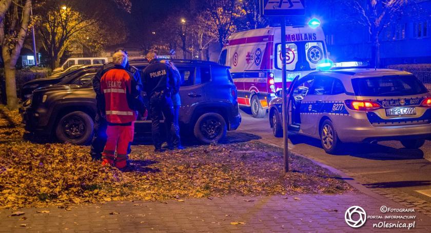 Na sygnale, Potrącenie pieszego ulicy Skłodowskiej - zdjęcie, fotografia