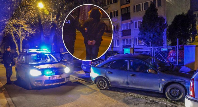 Na sygnale, Nocny pościg nietrzeźwym kierowcą Mazdy - zdjęcie, fotografia