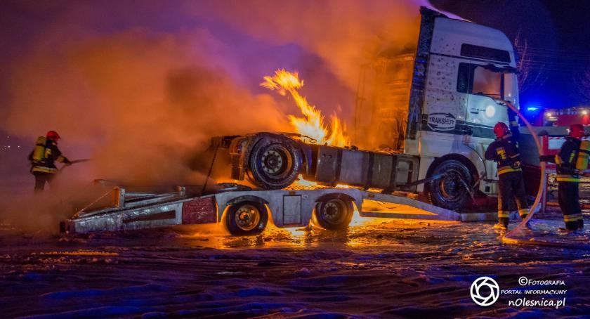 Na sygnale, Pożar ciężarowego Ostrowinie - zdjęcie, fotografia