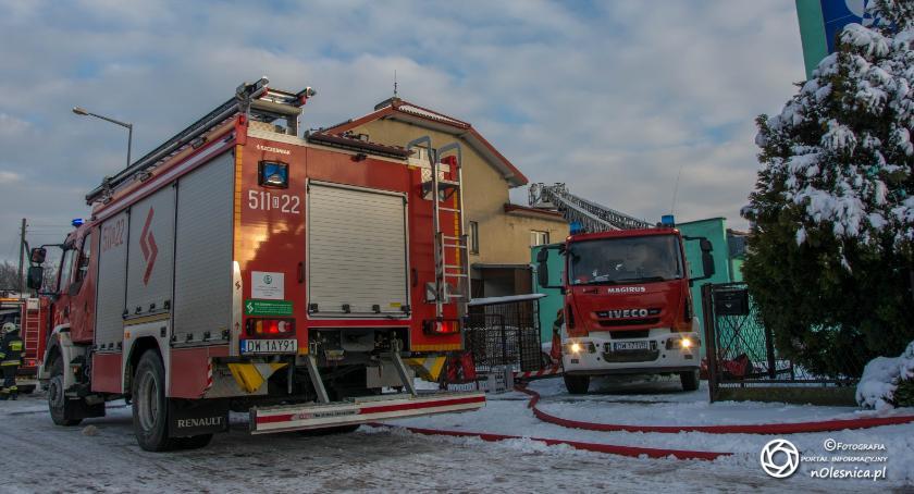 Na sygnale, Pożar stolarni Twardogórze - zdjęcie, fotografia
