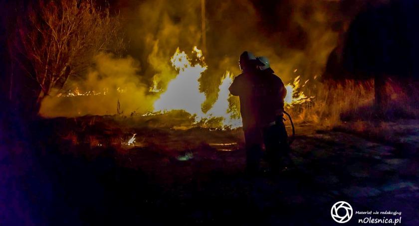 Na sygnale, Duży pożar nieużytków Bierutowie - zdjęcie, fotografia