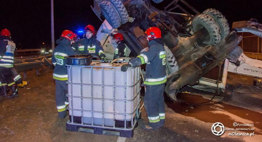Na sygnale, Wypadek koparka leży pasie ruchu kierunku Wrocław VIDEO - zdjęcie, fotografia