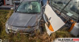 Wypadek Mercedesa i ciężarówki na starej