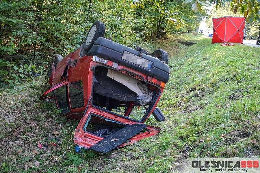 Wypadki drogowe, Tragiczny wypadek Oleśnicą Kierowca pijany pasażer zginął - zdjęcie, fotografia