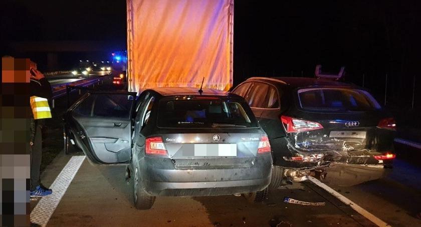 Autostrada A4, Karambol osoby poszkodowane - zdjęcie, fotografia