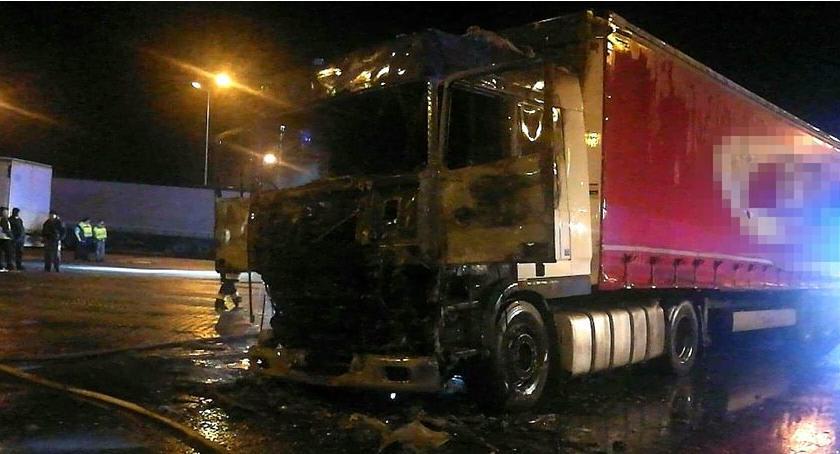 Autostrada A4, Pożar ciężarówki - zdjęcie, fotografia
