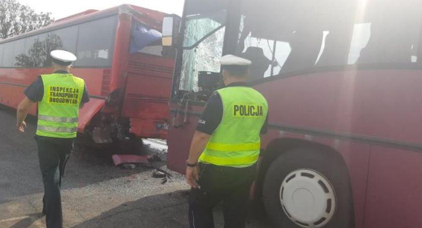 Wypadki drogowe, Zderzenie dwóch autobusów pracowniczych Rannych osób - zdjęcie, fotografia