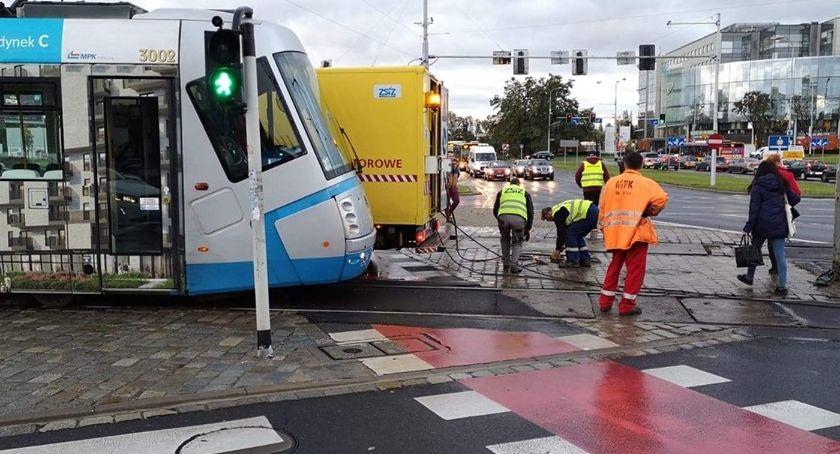 Wypadki drogowe, Palcu Strzegomskim wykoleił dwukrotnie tramwaj - zdjęcie, fotografia