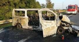 Spłonął bus na autostradzie A4