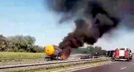 Pożar cysterny na autostradzie A4