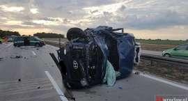 Wypadek z udziałem auta żandarmerii wojskowej na A4