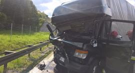 Zderzenie trzech samochodów ciężarowych na A4